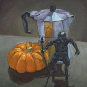 Caveman With Pumpkin and Moka